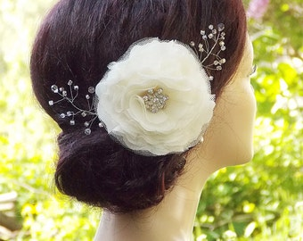 Bridal headpiece, Bridal hair flower, Wedding Hair Accessories, Wedding hair clip, Bridal hair piece,  Floral hair clip, Bridal fascinator