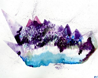 Amethyst Mountains Crystal Cluster Original Watercolor Painting The Desert Moon Handmade Colorful Tranquil Energy Abstract Quartz Cluster