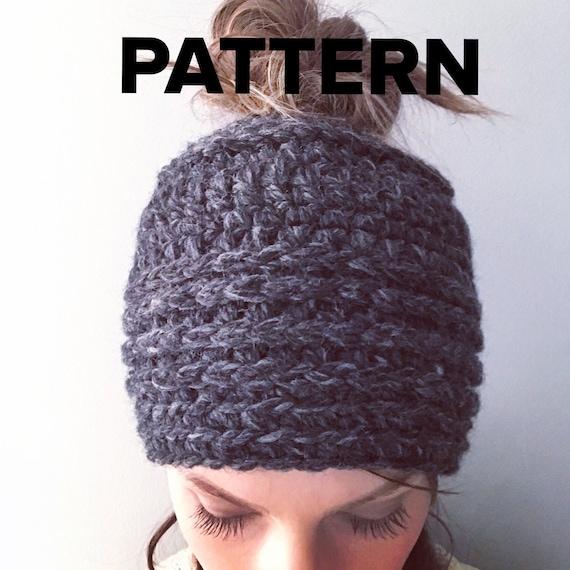 Top Knot Beanie Pattern Crochet Pony Tail Beanie Chunky