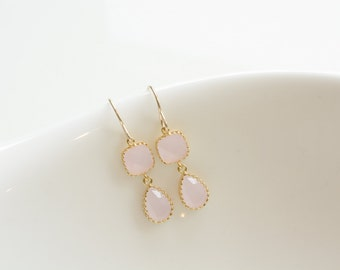 Soft pink earrings, pink dangle earrings, drop earrings, gold earrings, gold filled earrings