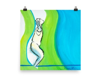 Expressive Dance Art Print, Dance Therapy, Dance Movement Therapy, Emotional Art, Dance Painting Green Blue, Dance Artwork, Dancer Painting