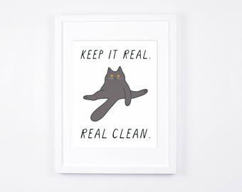 Keep It Real Art Digital Download, Funny British Shorthair Grey Cat Art Printable, Blue British Shorthair Cat Art Print, Butt Licking Cat