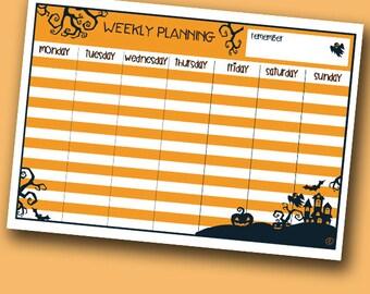 halloween weekly planner PDF printable A4 planificador semanal de halloween para imprimir en tamaño A4
