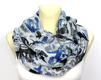 Blue White Scarf Blue Infinity Scarf Black Blue Scarf Women Spring Scarf Lightweight Inspirational Women Gift for Mom from Daughter from Son