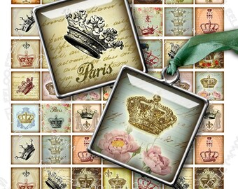 Digital printable SQUARES CROWNS 1x1 inch square crown france paris vintage for jewellery pendant clipart instant download collage - qu206