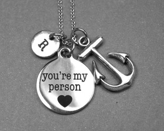 Your my Person necklace, anchor necklace, You're my person charm, boyfriend girlfriend gift, initial necklace, long distance relationship