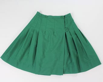 1960s Green Pleated Skirt