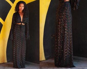 LAST ONE Hologram Dot High Waist Maxi Skirt S