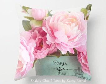 Peonies Floral Pillow, Shabby Chic Decor, Paris Peony Pillow, Flower Pillows Home Decor, Pink Peonies Decorative Pillows, Peony Throw Pillow