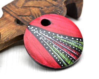 Clay Pendant, clay jewelry,  clay Supplies,  round charm ,focal charm , African art ,Jewelry Supplies , saucer beads ,jewelry making