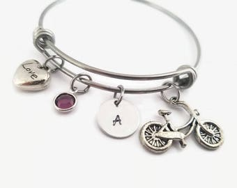 Bicycling bracelet, bicycling bangle, jewelry for bike rider, personalized bangle, gift for bicyclist, love to cycle, gift for her