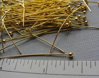 Gold Plated Brass ball headpins, 35mm, 23 gauge, 100pcs  HP7500