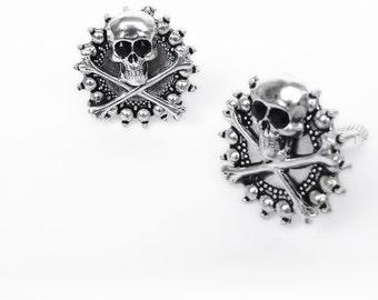 Silver Skull Cufflinks Rocker Jewelry gift for him goth husband boyfriend Gothic jewelry for men
