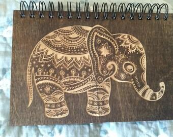 Decorative Elephant Gryffindor Etched Wooden Notebook