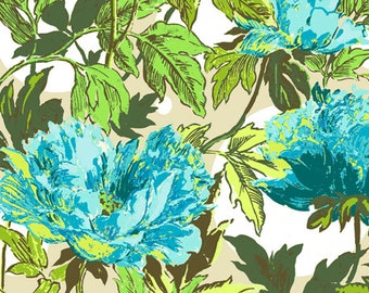 Twilight Peony Soul Blossoms in Azure by Amy Buler - 1/2 Yard