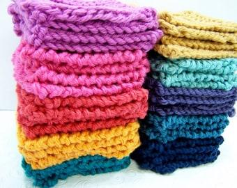 Set of 8 Mini Face Cloths, Pima Cotton Spa Wash Cloth Set Minis, Knit Wash Cloths, Knit Face Scrubbies, Colorfast, Choose Your Color