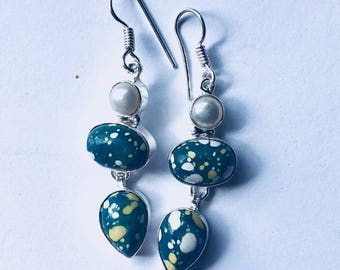 Forest of green mosaic stone earrings