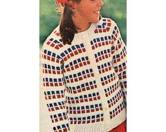 Instant Download PDF Knitting Pattern to make a Girls or Boys 3 Colour Checked Cardigan Aran Worsted Yarn 6 ages 4 to 14 years