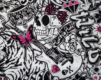 Reserved Listing  Desiree Girlie Rock Star Tattoos Fabric