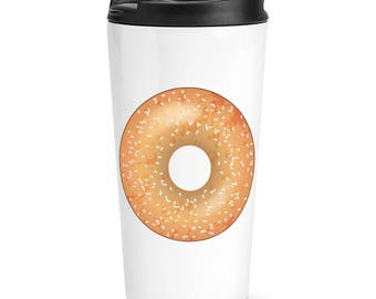 Sprinkled Glazed Doughnut Donut Travel Mug Cup