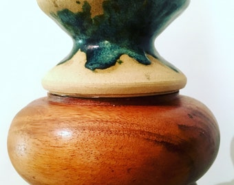 Mash Up Pendant Light, curvy turned wood with drippy teal glazed pottery