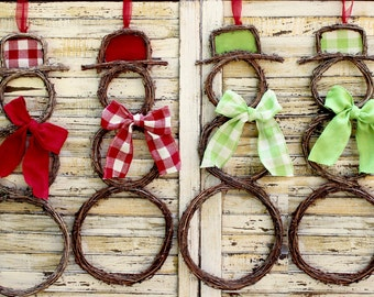 Snowman Wreath - Grapevine Snowman - Choose Hat/Scarf - Christmas Wreath