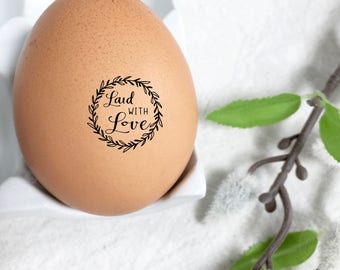 Egg Stamp - Laid With Love - Mini Egg Stamp - Egg Stamps - Chickens - Egg Carton - Fresh Eggs - Chicken Gift