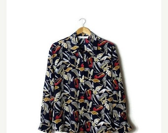 ON SALE Vintage Navy x Shoes/pumps/heels printed Long sleeve Slouchy  Blouse  from 1980's*