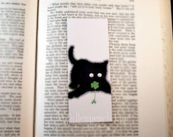 Black Cat with a Clover Bookmark - Original, Laminated Illustration
