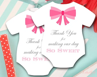 Pink Girl Baby Shower Favor Tags, Girl Baby Shower Favors, Thank You Tags, Bow tie Baby Shower, Baby Shower Favor Tags, Thank You Tags, LF23