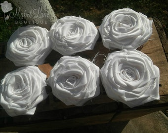 White Fabric Rose, Bridal Belt, Flat Backed, Floral Embellishment, Home Decor, Fabric Flowers, Faux Flowers, White Flowers, Wedding Garland