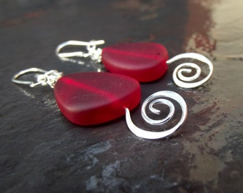 Modern Geometric Earrings:  Cherry Red Drop Earrings, Sea Glass Dangle Earrings, Silver Spiral Earrings, Nautical Beach Jewelry