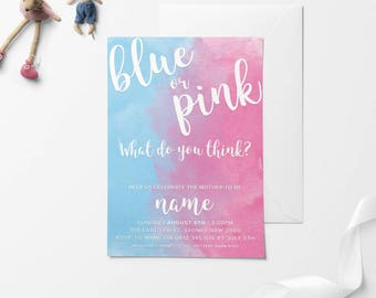 BLUE or PINK, Baby Shower Invitation, Printable Baby Shower Invitation, DIY Baby Shower Invitation, Gender Reveal, Gender Reveal Baby Shower