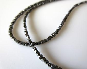 "4"" Raw Uncut Natural Diamond Box Beads, Black Conflict Free Rough Diamonds, 2mm, SKU-DDS129/3"