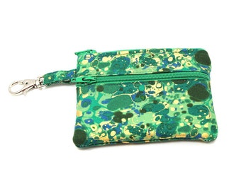 Small Zippered Wallet Change Purse Gadget Case   Green with Gold Splotches 5644 5645