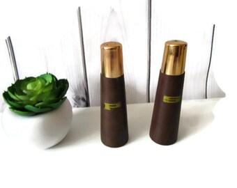 Wooden Salt and Pepper Shakers Mid Century Modern Scandinavian Danish Design Brown Teak Wood and Gold Dinnerware Serving Gift idea