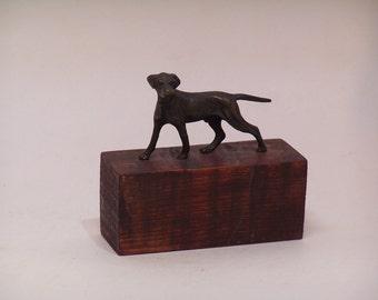 antique brass dog statuette