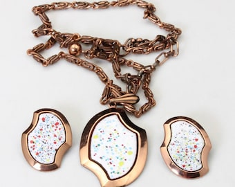 Vintage Mid Century Copper & Confetti Enamel Chain Necklace Pendant Earring Set