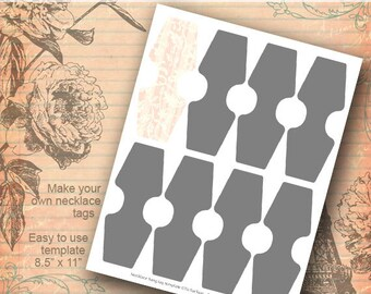 Instant Download - Necklace Hang Tag Template Collage Set PNG DIY Make Your Own