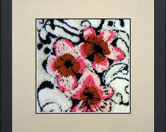 Silk painting of flowers in pink