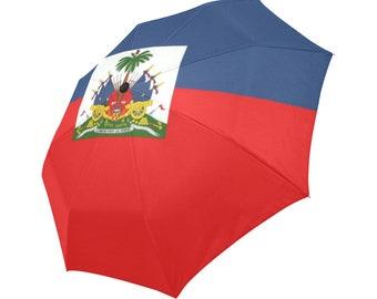 3D effect-Haiti flag- Large and automatic foldable umbrella- Rain and sun- customizable-Handpainted design