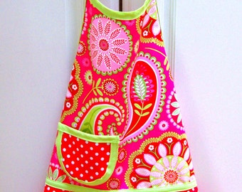 Girls Apron, Child, Children's, Kids, Toddler, Pretend Play, Kitchen Apron, Baking, Cooking  -  RED PAISLEY & DOTS