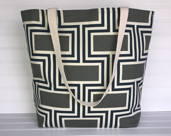 Gray-Navy-Ivory Geometric ToteHandmade Everyday Tote | Market Bag