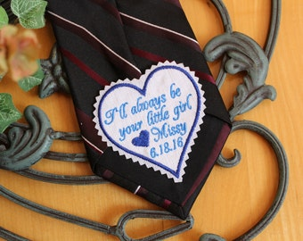 Heart tie patch for dad, 2.75 inches, father of the bride gift, Monogrammed Dad Tie Patches. I'll always be your little girl Tie Patch.TSH24