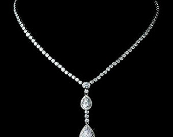 Luxury Crystal Drop Pendant Necklace, CRYSTAL ELEGANCE Crystal Bridal Necklace, Cz Wedding Necklace, Red Carpet, Hollywood, Celebrity Style