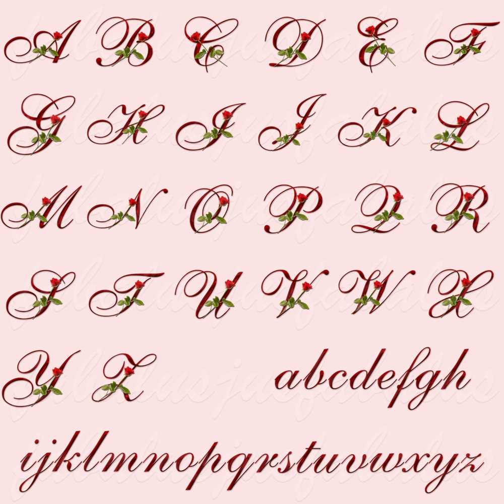 Alphabet letters numbers june birthday flower rose alphabet font this is a digital file izmirmasajfo