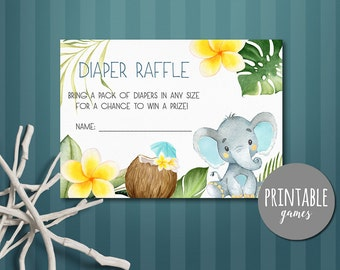 Diaper raffle card, Elephant baby shower Diaper raffle ticket, Boy shower cards, Elephant diaper raffle Printable, Boy baby shower activity