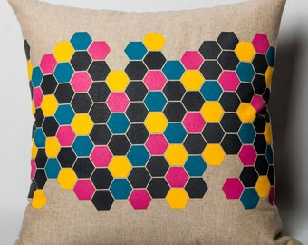 "Geometric pillow ""dimples""."