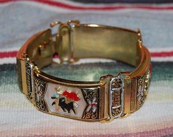 Matador Bullfighting Bracelet Vintage Souvenir Enamel Brass Kitsch Bracelet