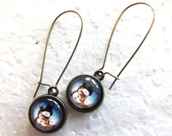 Blue snowman Winter earrings  12mm dangles